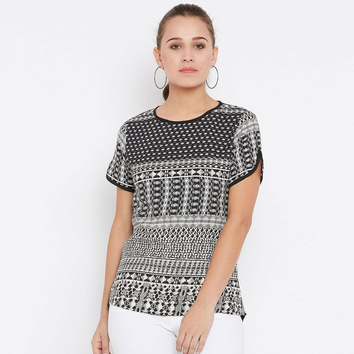 Magnetic Black Colored Casual Wear Printed Crepe Top