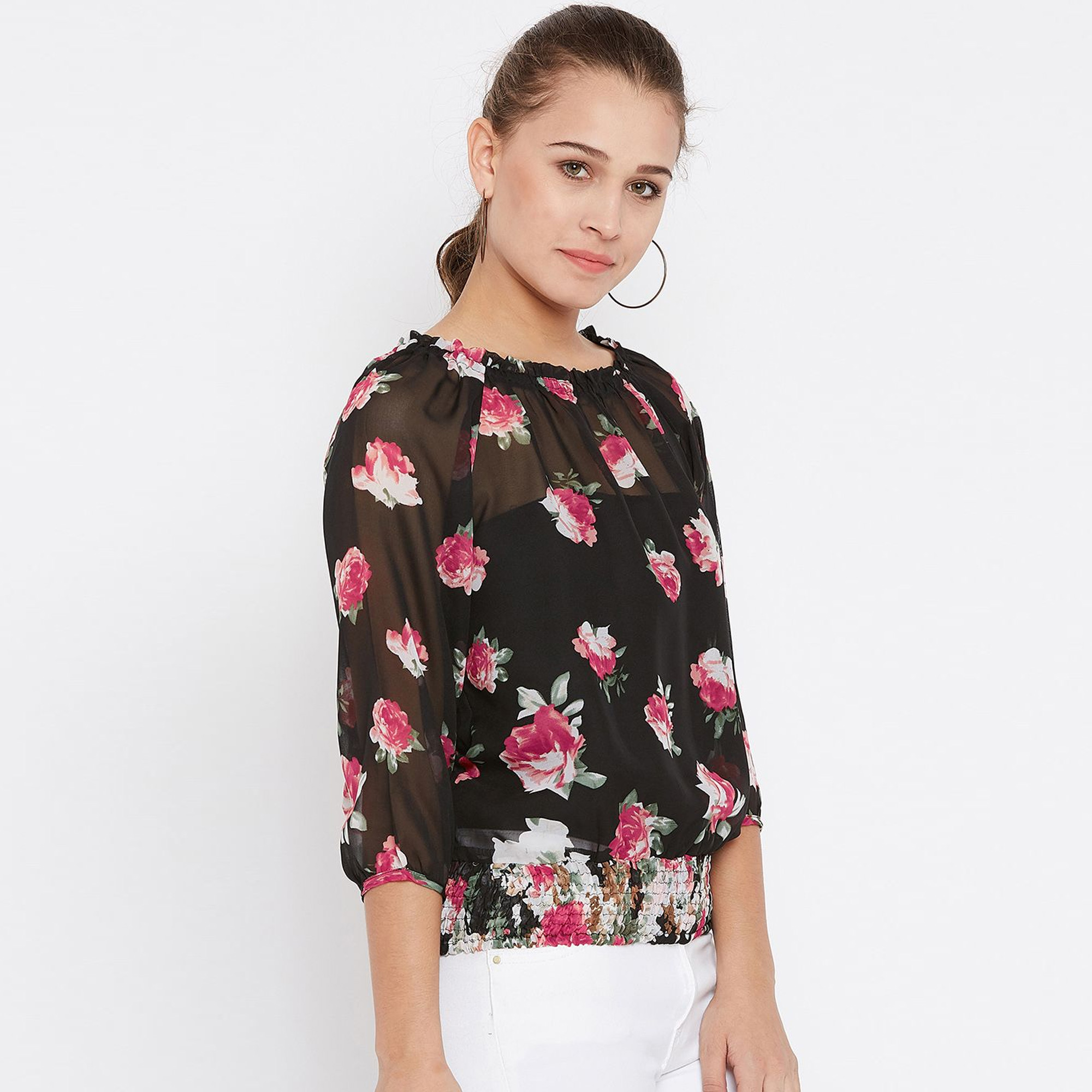 Hypnotic Black Colored Casual Wear Floral Printed Georgette Top