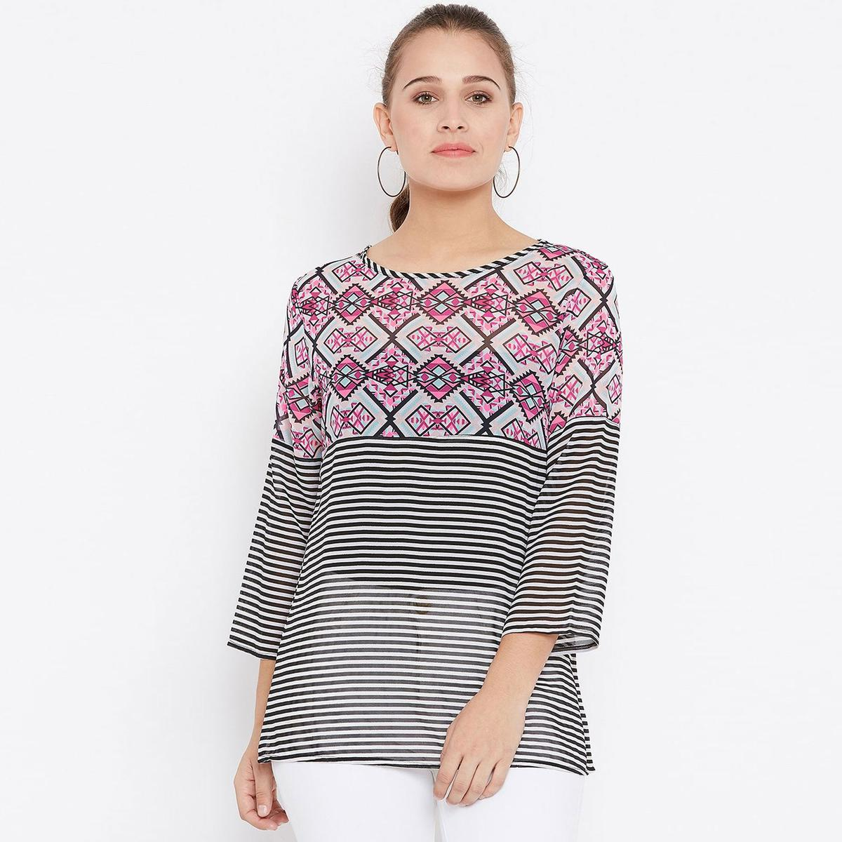 Flattering Off White-Pink Colored Casual Wear Printed Georgette Top