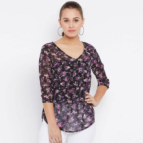 Marvellous Black Colored Casual Wear Printed Georgette Top