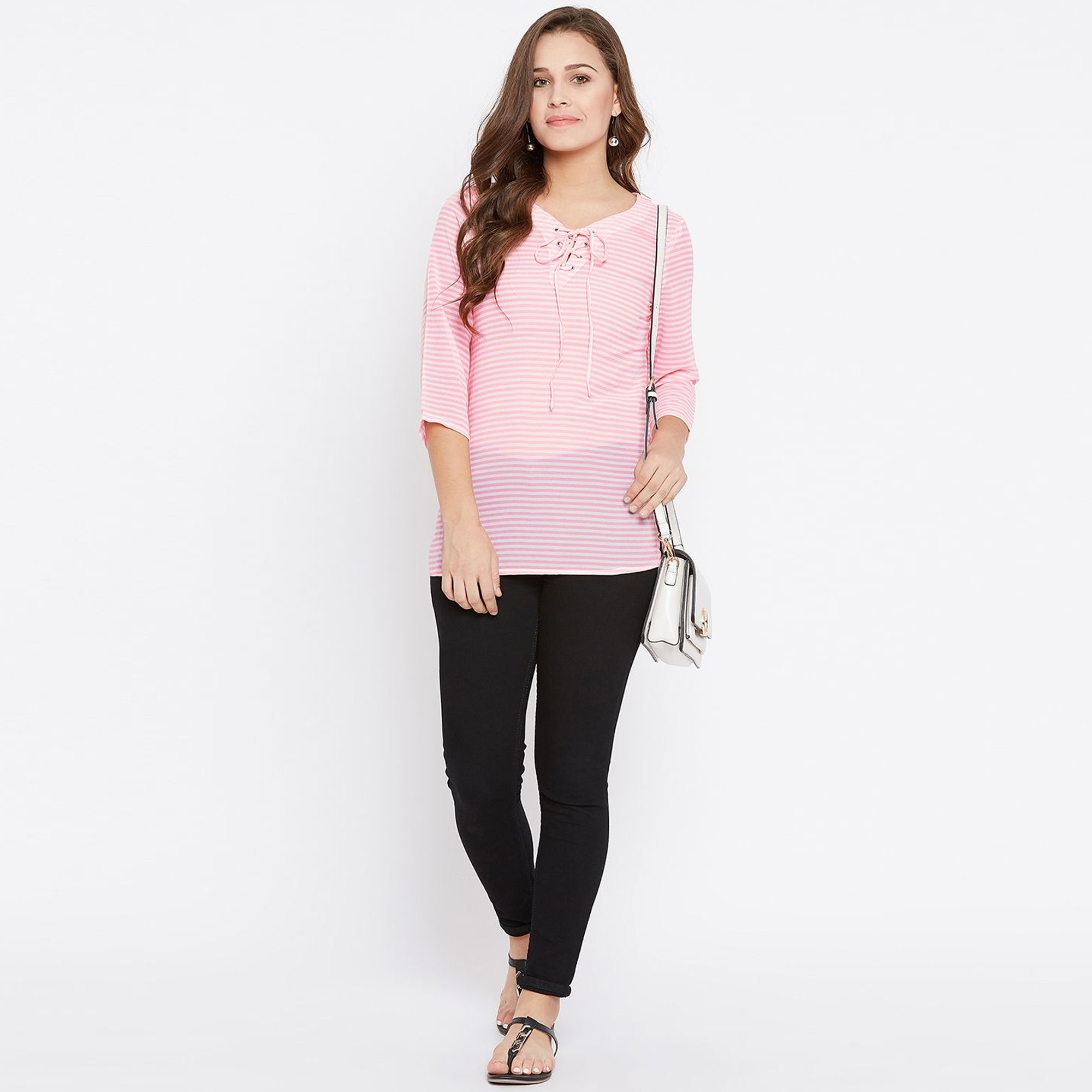 Pretty Pink Colored Casual Wear Stripes Printed Georgette Top