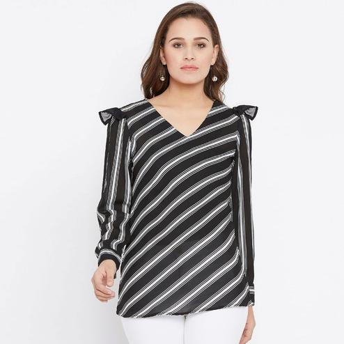 Alluring Black Colored Casual Wear Stripes Printed Crepe Top