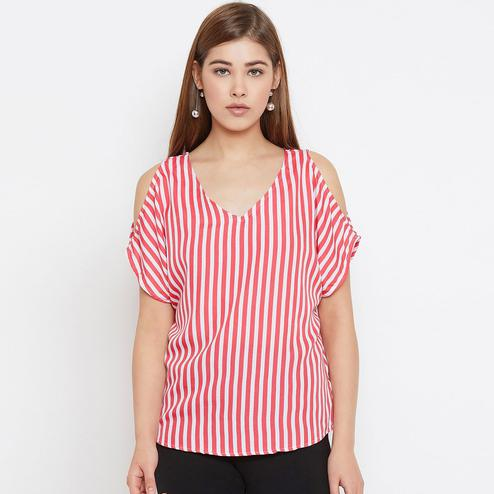 Surpassing Pink Colored Casual Wear Cold Shoulder Stripes Printed Crepe Top