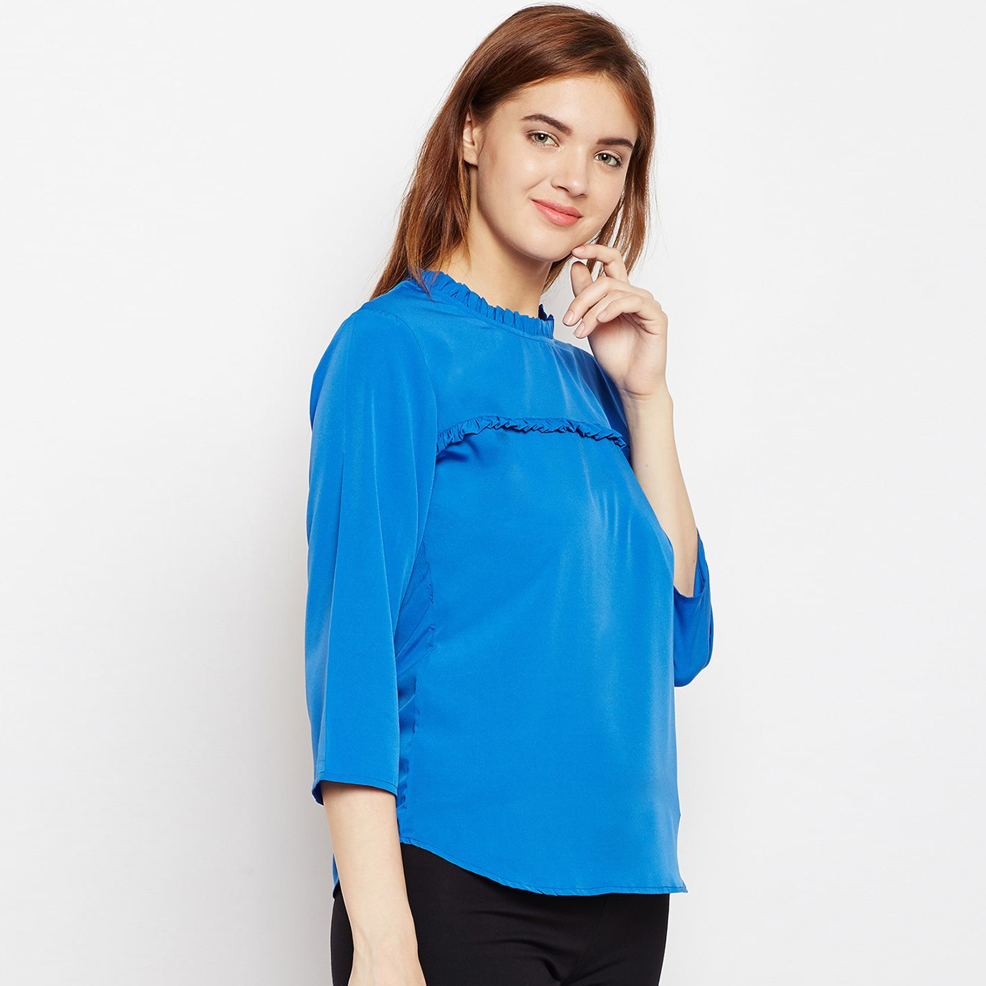 Entrancing Blue Colored Casual Wear Crepe Top