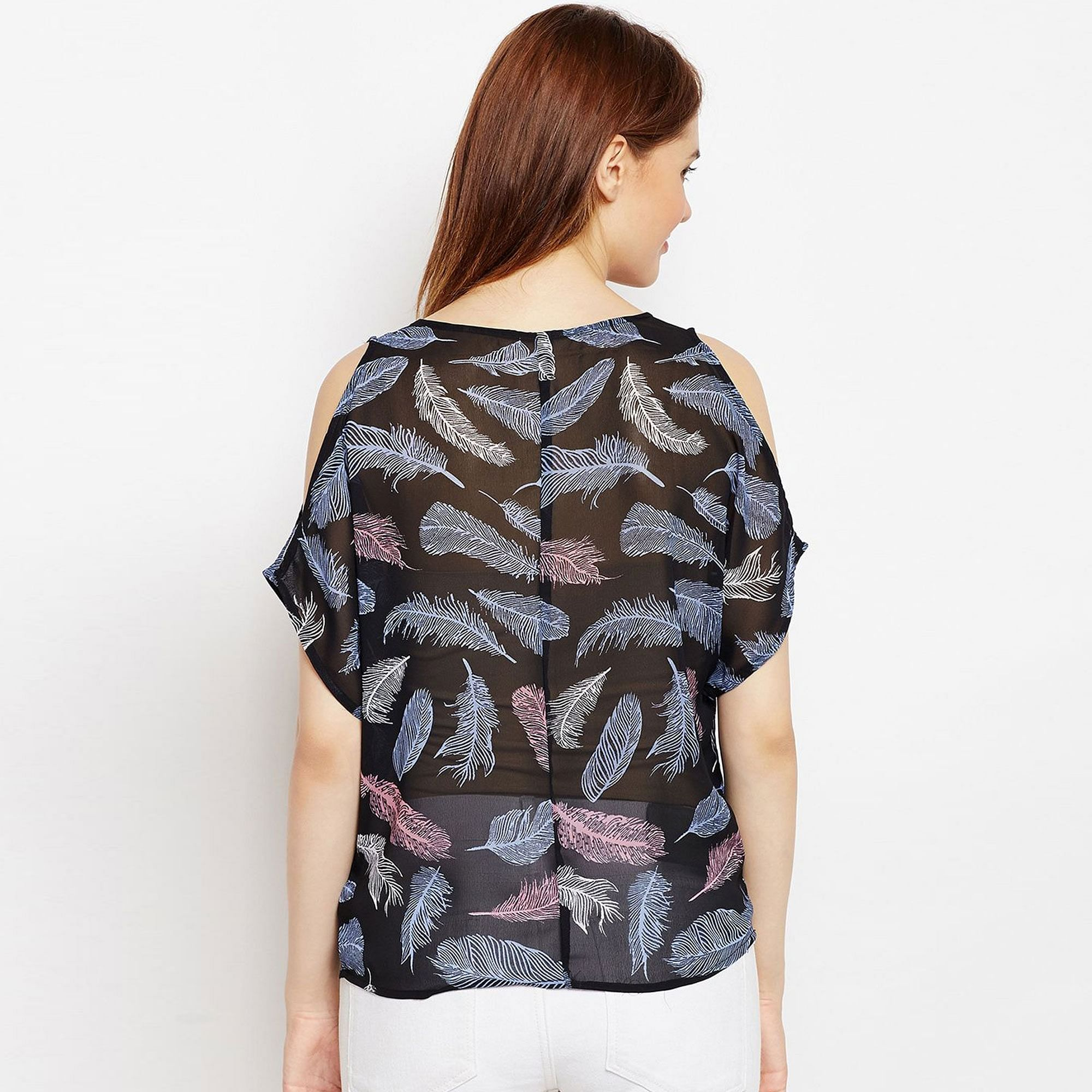 Groovy Black Colored Casual Wear Cold Shoulder Printed Georgette Top