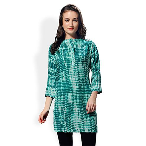 Green Pure Rayon Printed Kurta