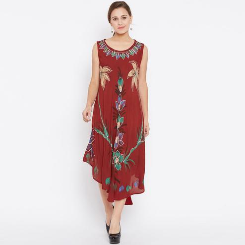 Flamboyant Maroon Colored Casual Wear Floral Printed Rayon Dress