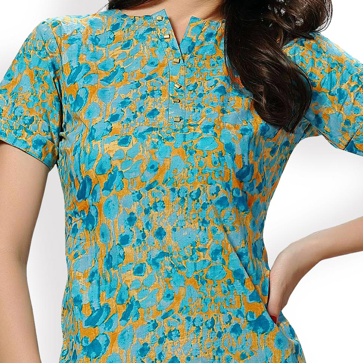 Golden - Sea Green Stitched Top