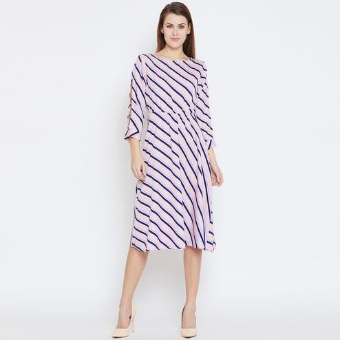 Flaunt Pink Colored Casual Wear Stripes Printed Crepe Dress