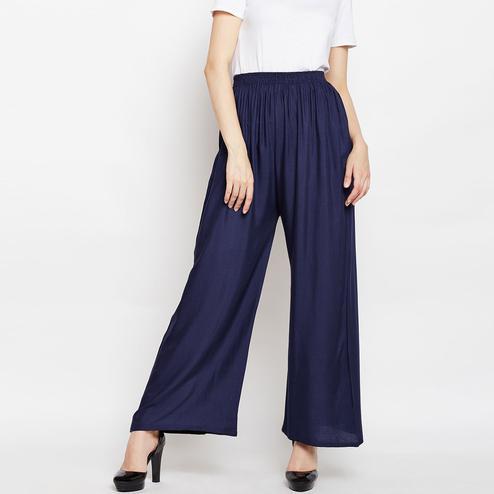 Imposing Navy Blue Colored Casual Wear Rayon Palazzo