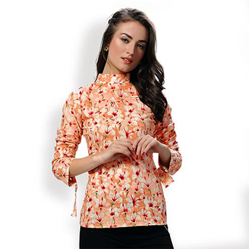 Orange Floral Print Knot Top