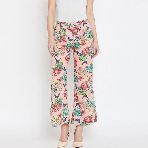 Blooming Multi Colored Casual Wear Floral Printed Crepe Palazzo