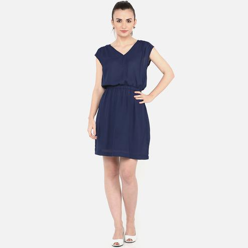 Amazing Navy Blue Colored Casual Wear Georgette Dress