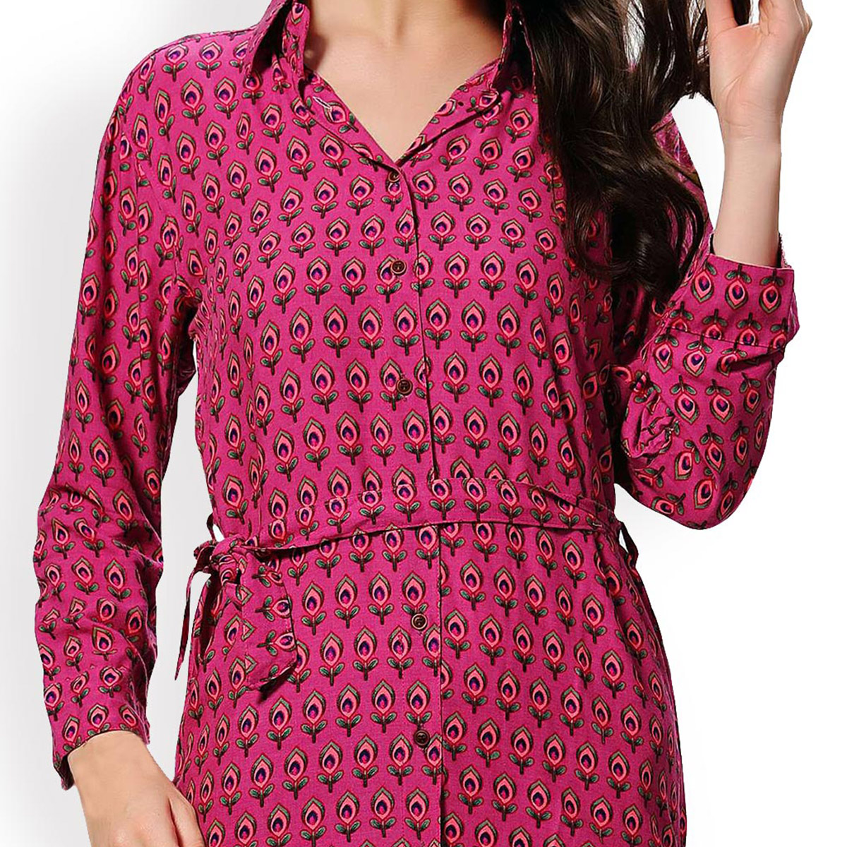 Pink Printed Shirt with Collar Neck