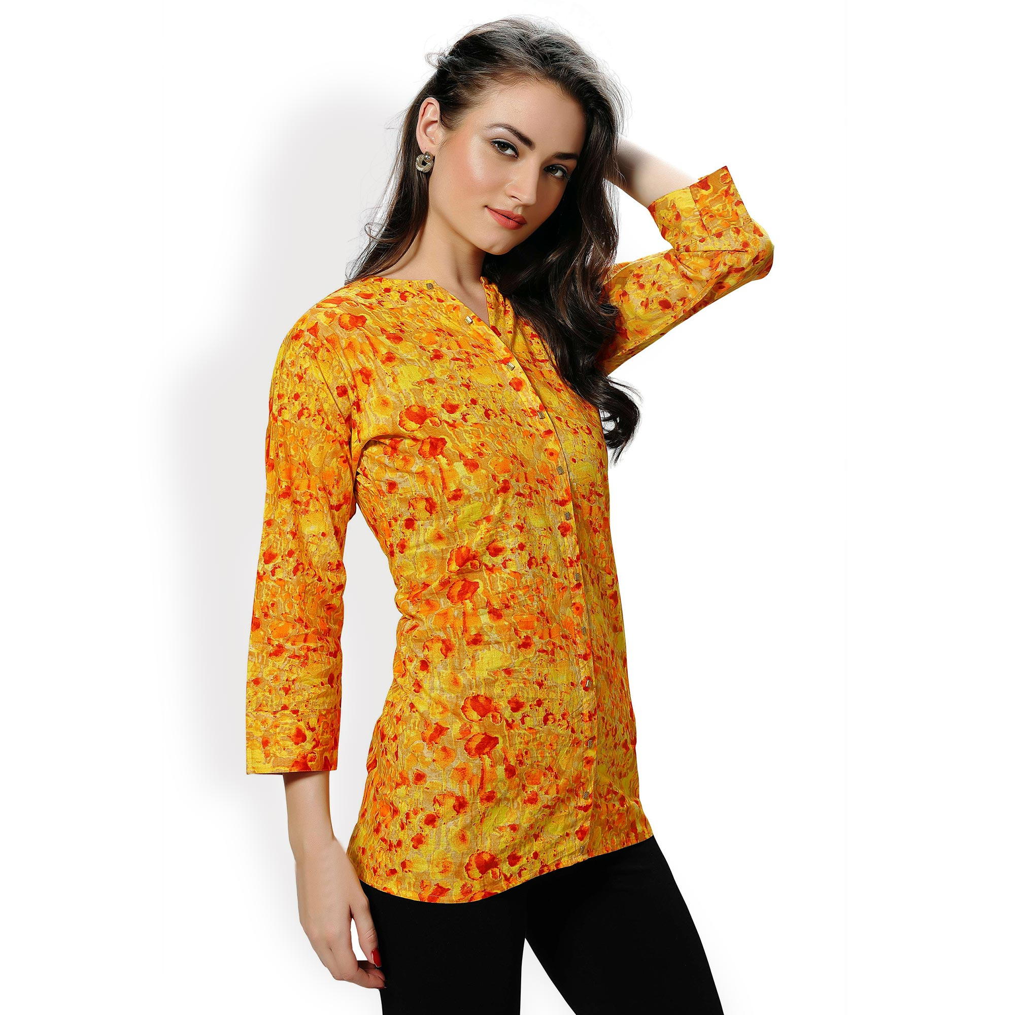 Yellow Casual Wear Printed Shirt