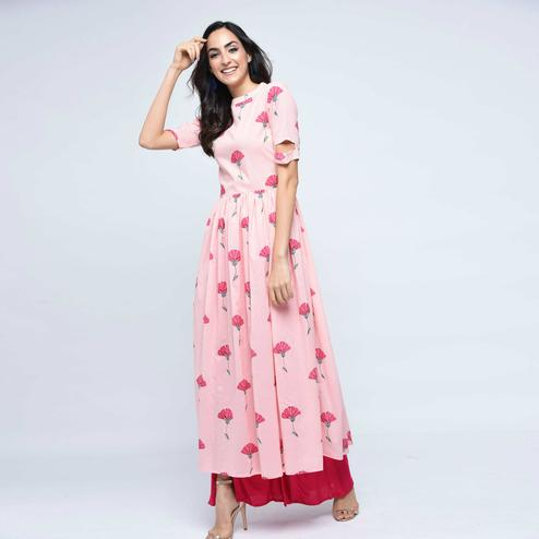 Blissful Baby Pink Colored Casual Wear Floral Printed Cotton Kurti-Palazzo Set