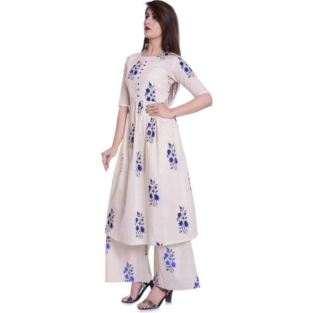 Intricate Off White Colored Casual Wear Floral Printed Cotton Kurti-Palazzo Set