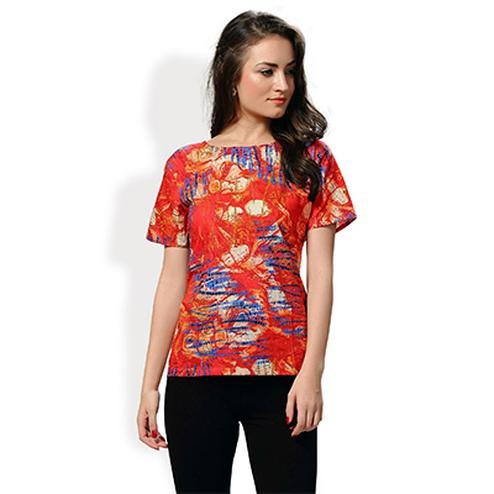 Red Casual Wear Printed Top