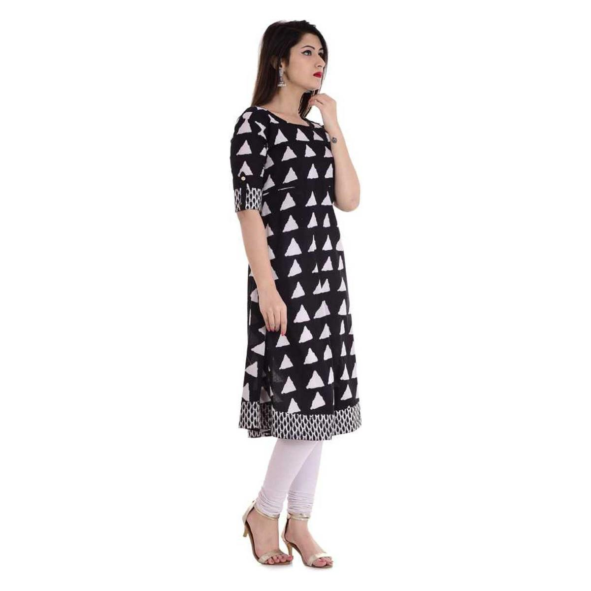 Elegant Black Colored Casual Wear Geometric Printed Cotton Kurti