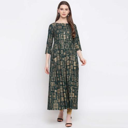 Radiant Green Colored Party Wear Foil Printed Rayon Kurti