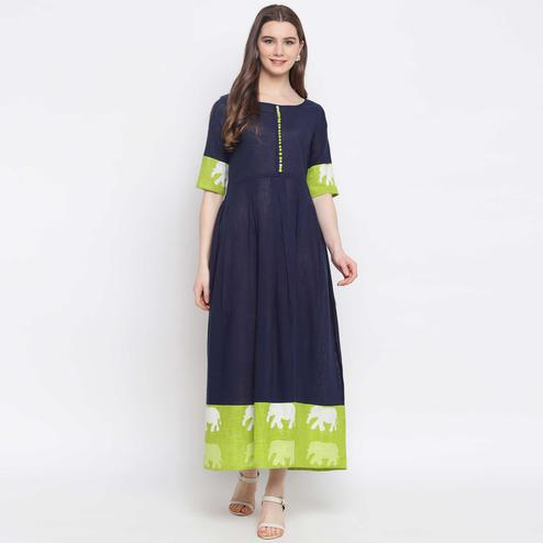 Pleasant Navy Blue Colored Casual Wear Animal Printed Cotton Kurti
