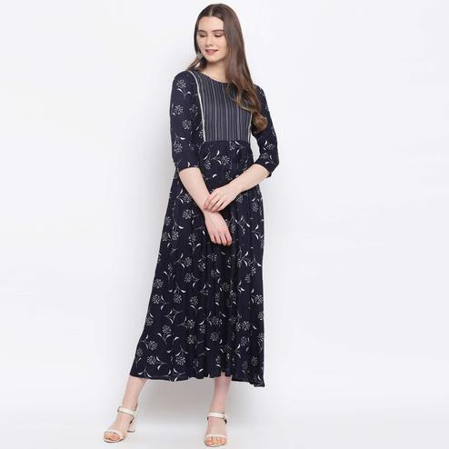 Opulent Navy Blue Colored Casual Wear Floral Printed Rayon Kurti