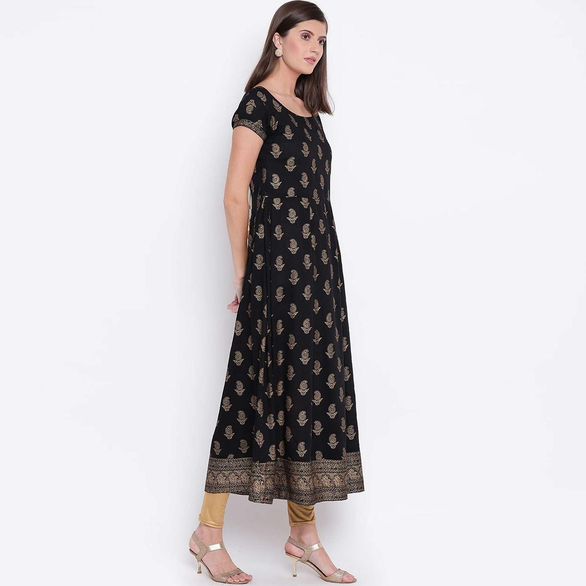 Stylum Exceptional Black Colored Party Wear Foil Printed Rayon Kurti