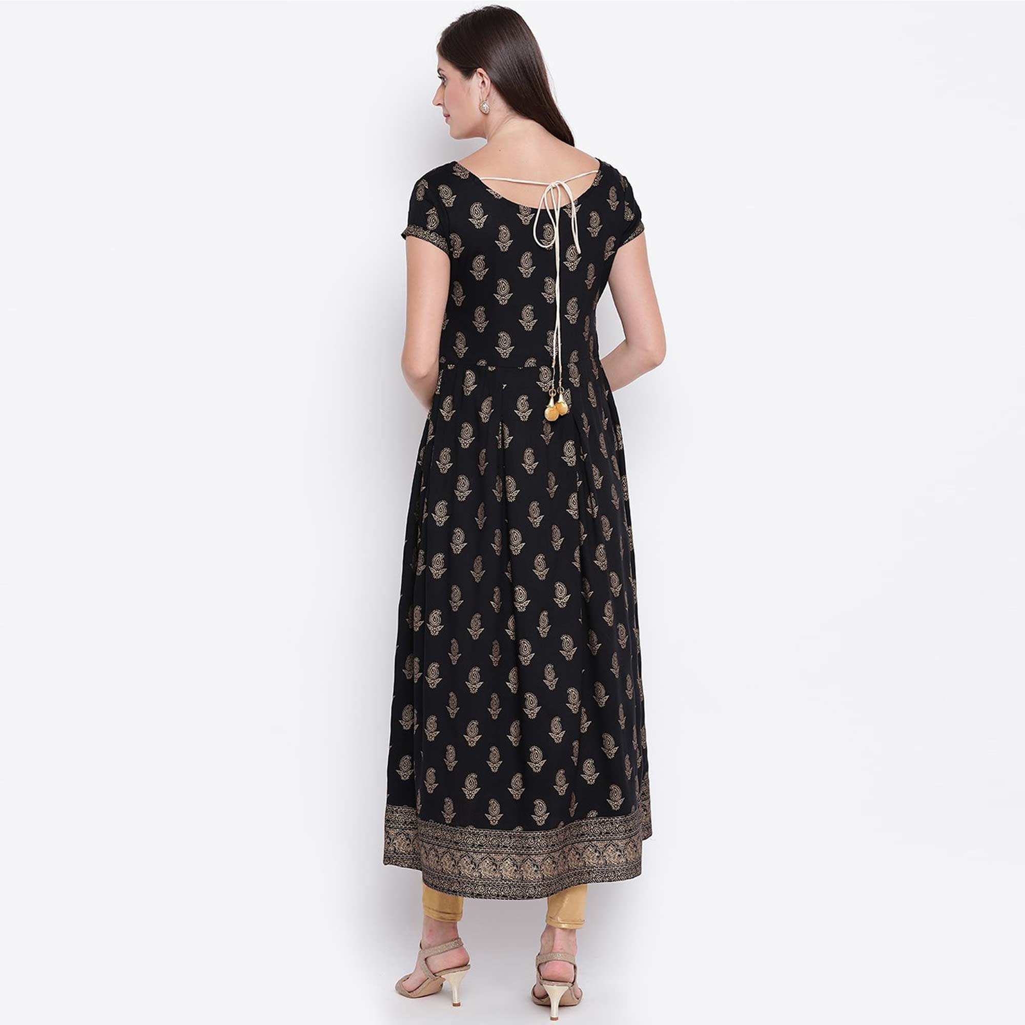 Exceptional Black Colored Party Wear Foil Printed Rayon Kurti