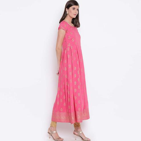 Gleaming Pink Colored Party Wear Foil Printed Rayon Kurti