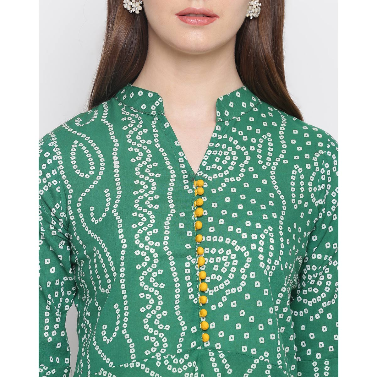 Unique Green Colored Casual Wear Bandhani Printed Cotton Kurti