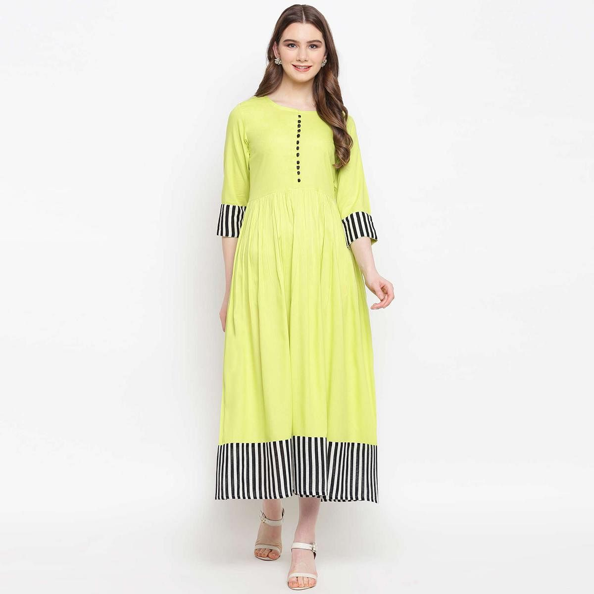 Refreshing Lime Green Colored Casual Wear Rayon Kurti