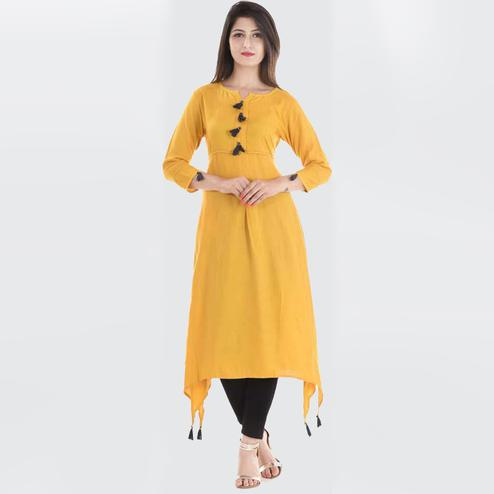 Magnetic Mustard Yellow Colored Casual Wear Rayon Kurti