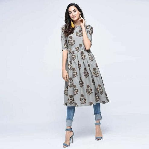 Preferable Grey Colored Casual Wear Floral Printed Cotton Kurti