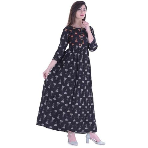Marvellous Black Colored Casual Wear Printed Cotton Kurti