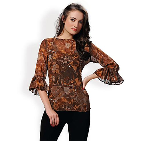 Brown Casual Wear Printed Top