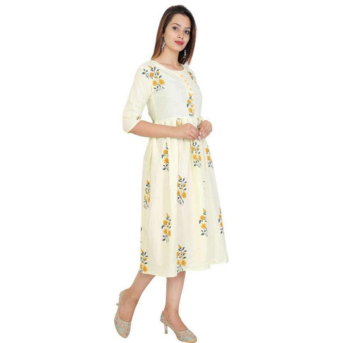 Alluring Lemon Yellow Colored Casual Wear Floral Printed Cotton Kurti