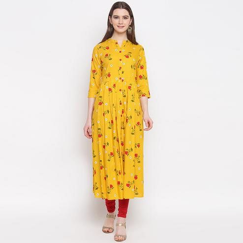 Sensational Mustard Yellow Colored Casual Wear Floral Printed Rayon Kurti