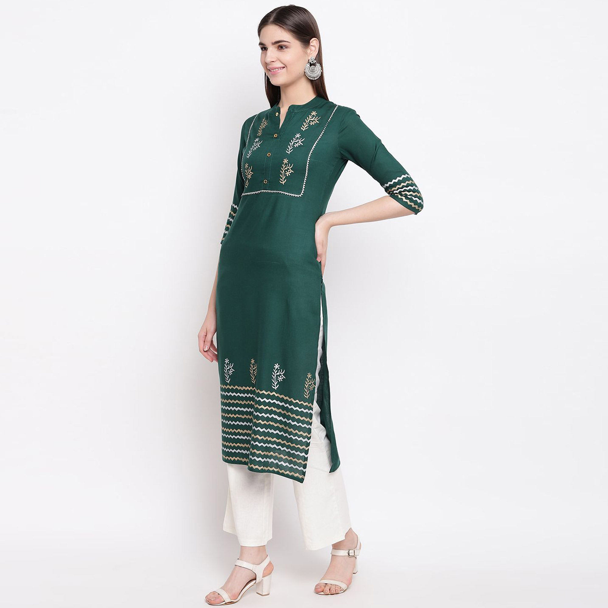 Stunning Dark Green Colored Casual Wear Block Printed Cotton Kurti