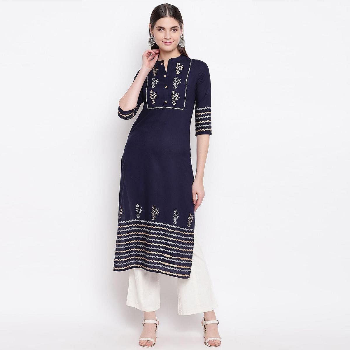 Flirty Navy Blue Colored Casual Wear Block Printed Cotton Kurti