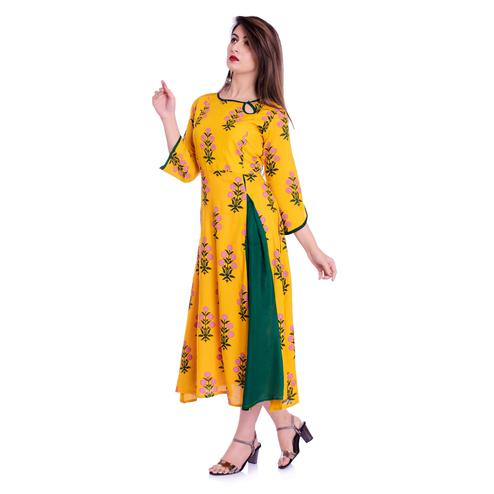 Beautiful Mustard Yellow Colored Casual Wear Floral Printed Rayon Kurti