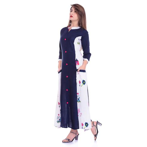 Blooming Navy Blue-White Colored Casual Wear Printed Rayon Kurti