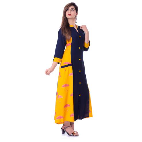 Charming Navy Blue-Yellow Colored Casual Wear Printed Rayon Kurti