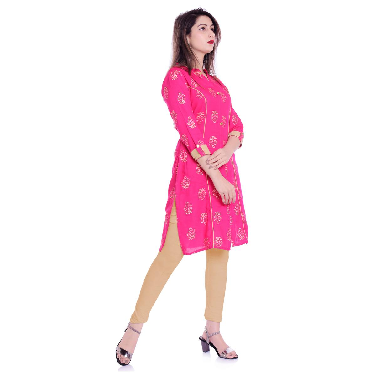 Engrossing Pink Colored Casual Wear Block Printed Rayon Kurti