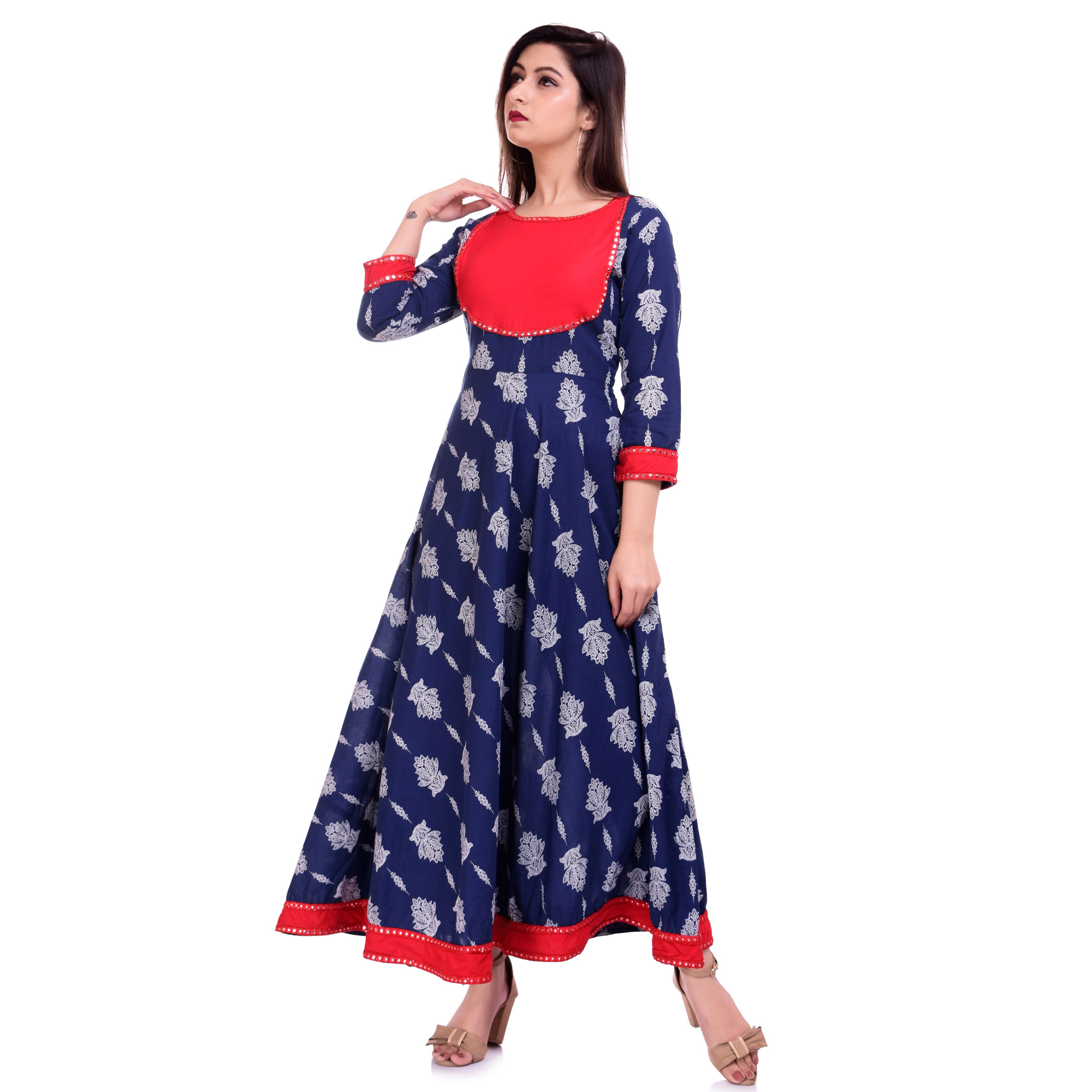 Innovative Blue Colored Casual Wear Floral Printed Cotton Kurti