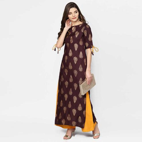 Eye-catching Brown Colored Party Wear Foil Printed Rayon Kurti-Palazzo Set