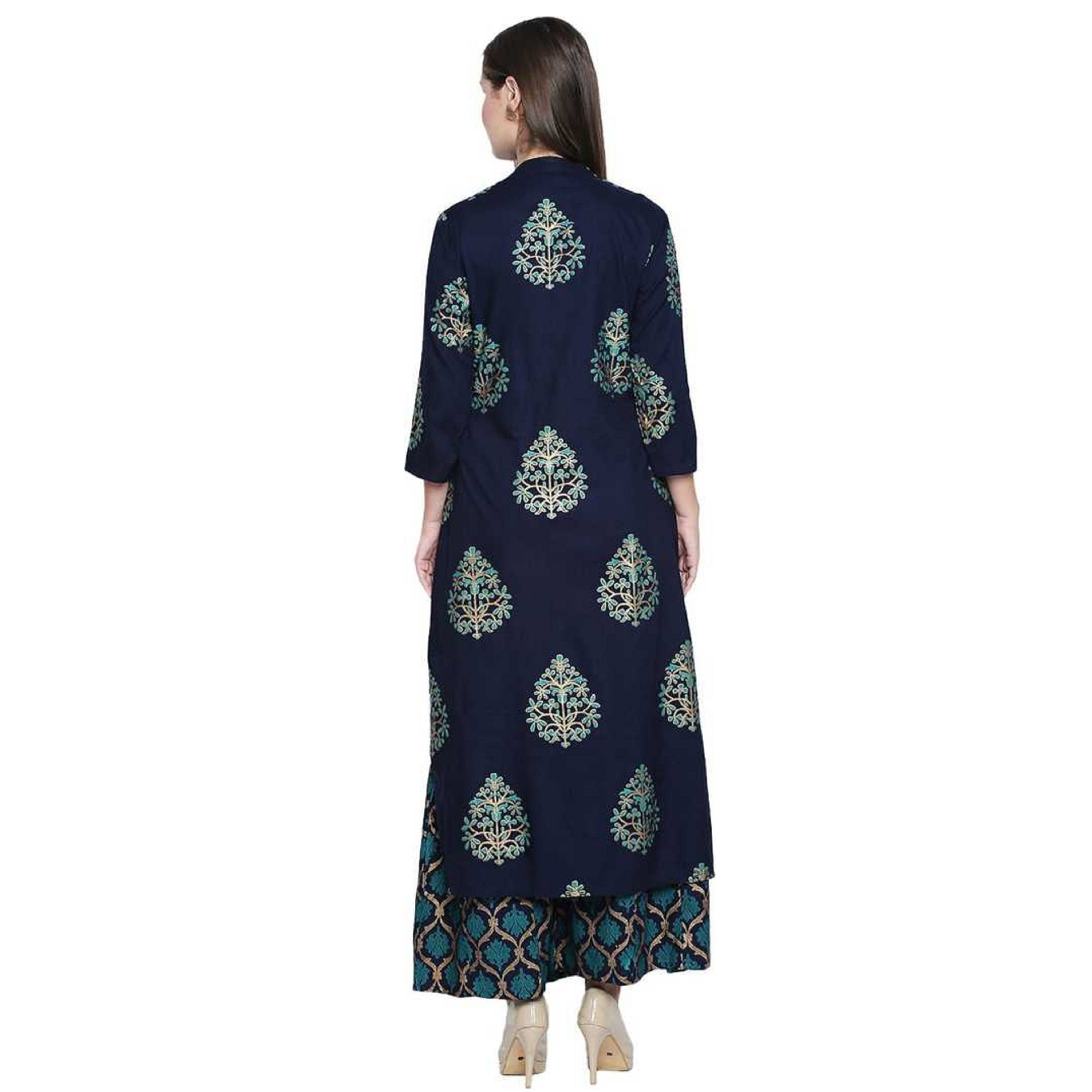 Fantastic Navy Blue Colored Party Wear Foil Printed Cotton Kurti-Palazzo Set