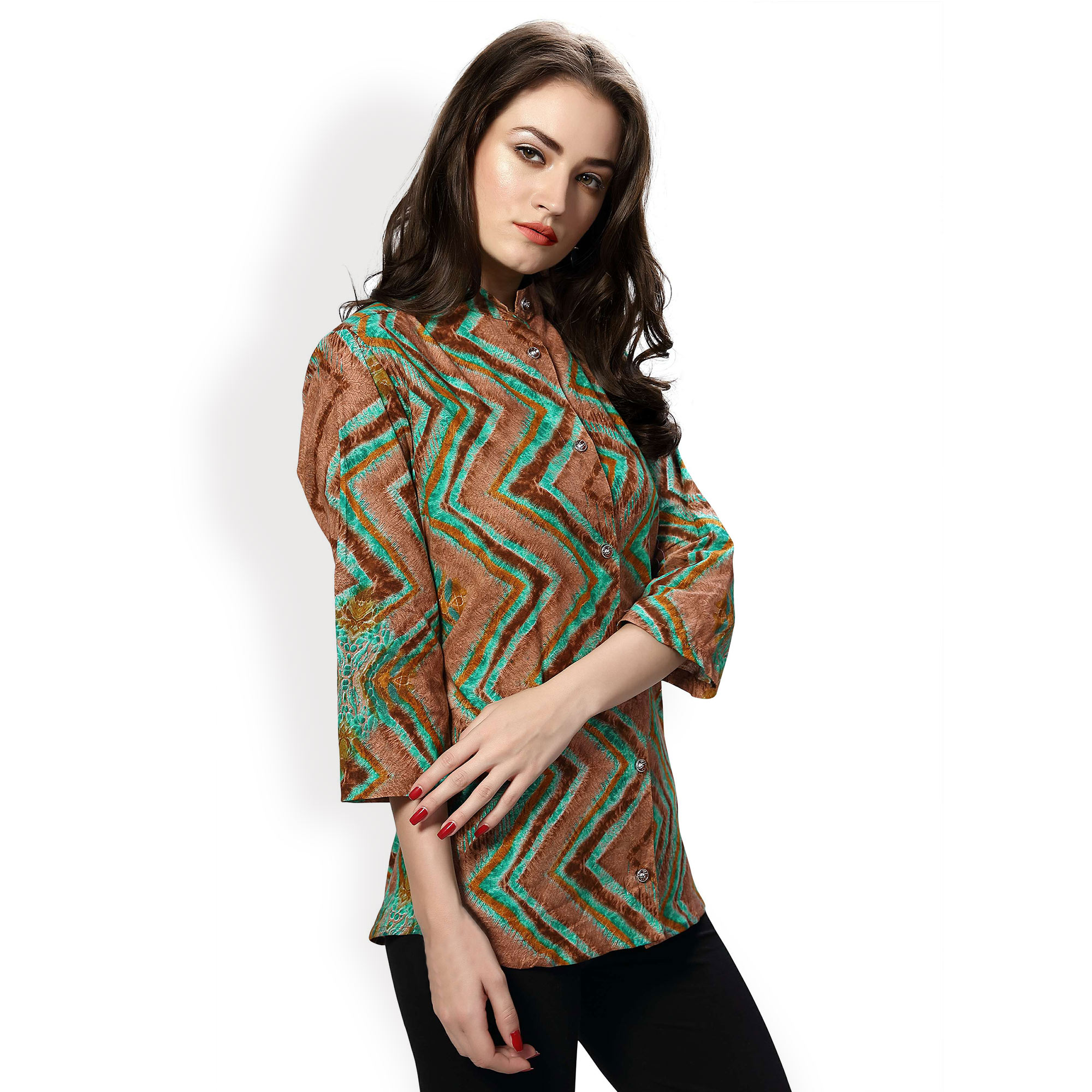 Multicolored Printed Shirt With Collar Neck