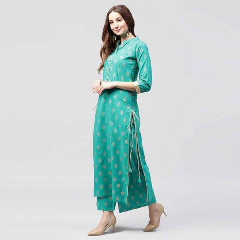 Gorgeous Turquoise Green Colored Party Wear Foil Printed Cotton Kurti-Palazzo Set