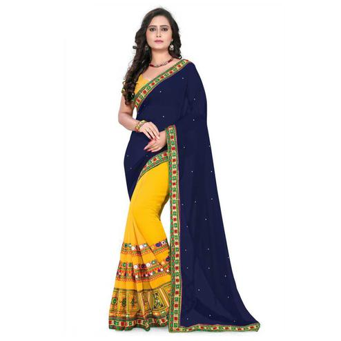 Elegant Yellow-Blue Colored Party Wear Embroidered Half & Half Georgette Saree
