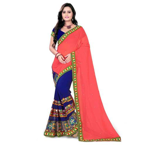 Radiant Blue-Pink Colored Party Wear Embroidered Half & Half Georgette Saree